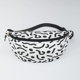 squiggly 80s white Fanny Pack