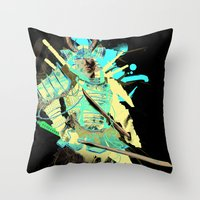 samurai Throw Pillows featuring Samurai by Kent Floris