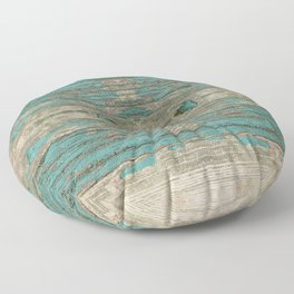 Weathered Rustic Wood - Weathered Wooden Plank - Beautiful knotty wood weathered turquoise paint Floor Pillow