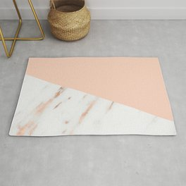 Pink Quartz and White Marble Rose Gold Rug