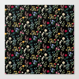 Spring Botanicals Black Canvas Print