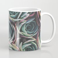 succulents Mugs featuring SUCCULENTS by The Pixel Gypsy