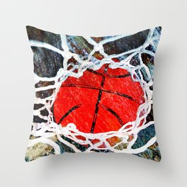 Basketball and net vs 4 Throw Pillow