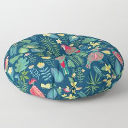 Bright parrots with ornament on the background of tropical flowers and leaves. Floor Pillow