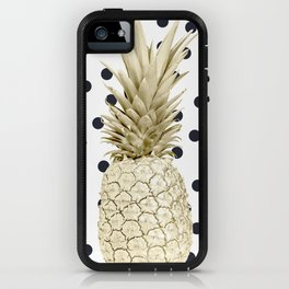 Gold Pineapple on Black and White Polka Dots iPhone Case
