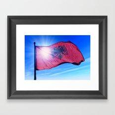 Albania flag waving on the wind Framed Art Print