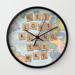 Get lost along the way art print Wall Clock
