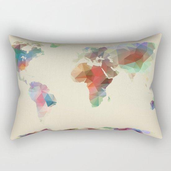 World Map //// Geometric II Rectangular Pillow