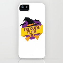 Halloween Frequent Flyer Witch Hat And Broom T Shirt iPhone Case