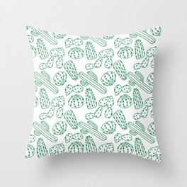 Turquoise cactus line drawing seamless pattern Throw Pillow