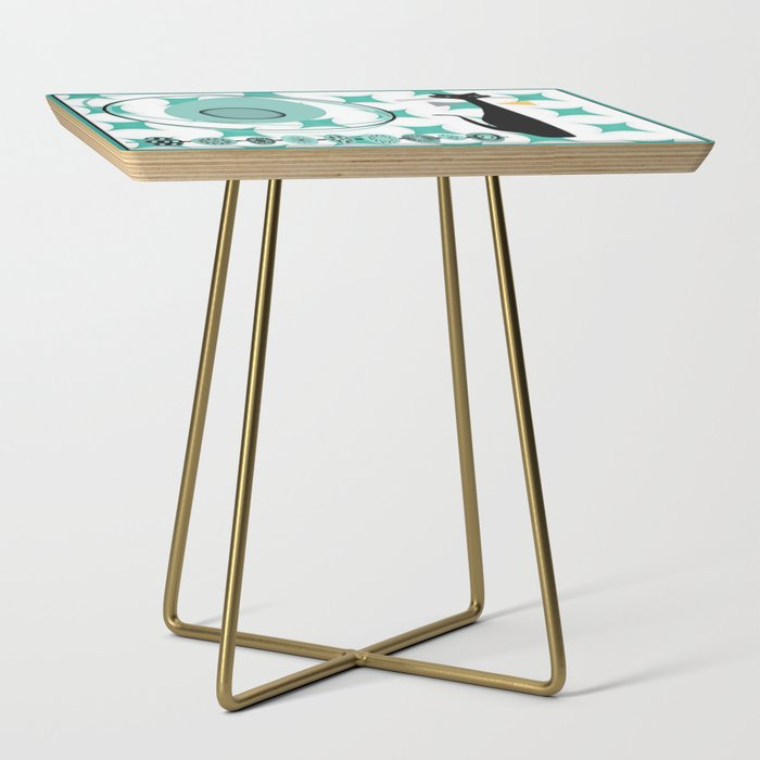 Mid-Century Modern Atomic Art - Teal - Cat Side Table