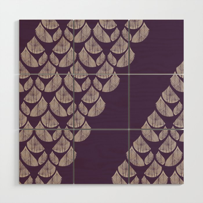 Purple drops Wood Wall Art