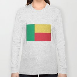 Flag of Benin. The slit in the paper with shadows. Long Sleeve T-shirt