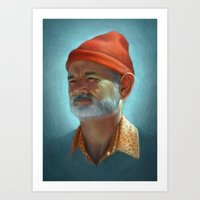 steve zissou Art Prints featuring Steve Zissou by Kate O'Hara Illustration