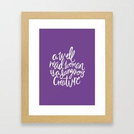 Well Read Woman - Feminist Nerd Girl Quote - White Purple Framed Art Print