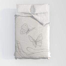 Butterflies on the Palm of the Hand Comforters
