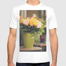 Vintage roses White MEDIUM Mens Fitted Tee