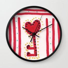 Red key Wall Clock