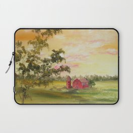 Red Barn, Farm Painting, by Faye Laptop Sleeve