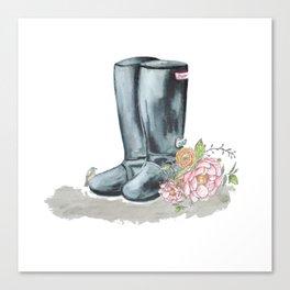 Spring rain boots Canvas Print