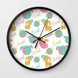 Cute modern pink green orange dog pattern typography Wall Clock