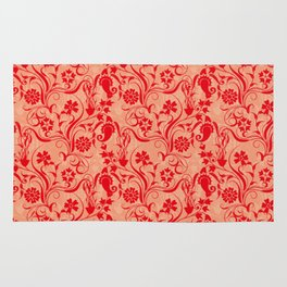 pattern flower red Rug