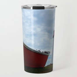 Boat and Lighthouse in Point Prim PEI Travel Mug