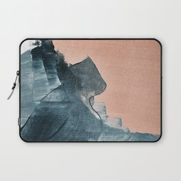 Renew: a minimal abstract piece in coral and blue by Alyssa Hamilton Art Laptop Sleeve