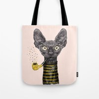 black cat Tote Bags featuring Black Cat by dogooder