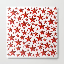 funny, stars, laugh, face, cheerful, red, shiny, xmas, smiley, Metal Print