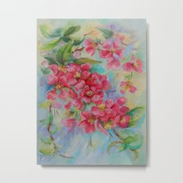 Quince blossom Red flowers Floral nature painting Impressionistic Oil sketch Metal Print