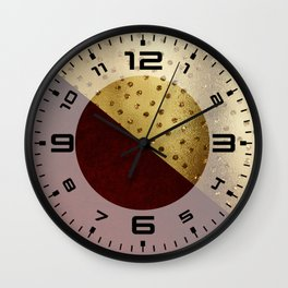 Red Leather look & gold polka Wall Clock