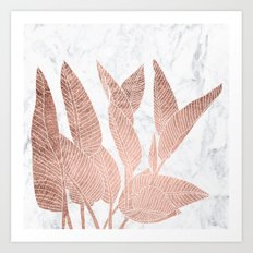 Modern faux Rose gold leaf tropical white marble illustration Art Print