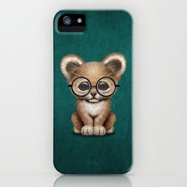 Cute Baby Lion Cub Wearing Glasses on Blue iPhone Case