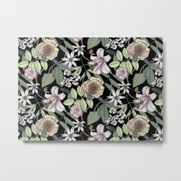 lush floral pattern with bee and beetles II Metal Print