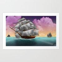 Rigged Ships Art Print