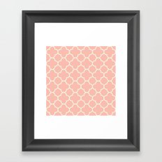 MOROCCAN {CORAL & OFF WHITE } Framed Art Print