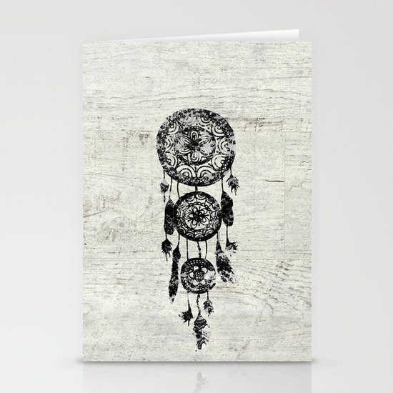 Hipster Lace black dreamcatcher on white wood Stationery Cards