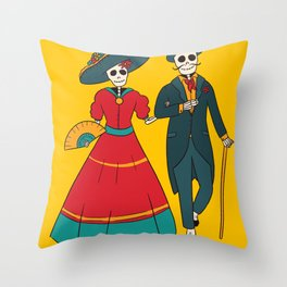 Catrina Couple Mexican Day Of The Dead Throw Pillow