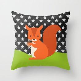 Squirrel, animals, stars, Chalkboard , nursery decor , children gift, birthday gift Throw Pillow