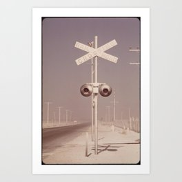 White dust on railroad crossing Art Print