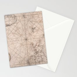Portolan map of the North Sea, the Norwegian Sea with adjacent coast and countries 1768 Stationery Cards