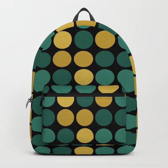 Yellow green polka dots on a black background . Backpack