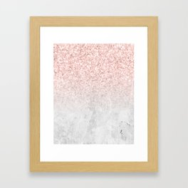 She Sparkles Rose Gold Pink Concrete Luxe Framed Art Print