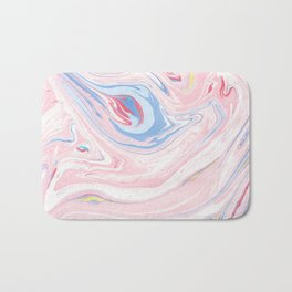 Blush pink blue pastel abstract hand painted watercolor marble Bath Mat