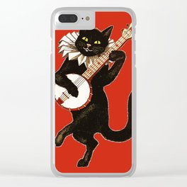 Black Cat for Halloween with Red Clear iPhone Case
