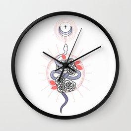 Snake and Roses Wall Clock