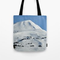 skiing Tote Bags featuring Back-Country Skiing  - VI by Alaskan Momma Bear