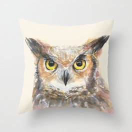 Owl Watercolor Great Horned Owl Painting Throw Pillow