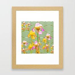 White-Pink  yellow Iris Wave Art Framed Art Print